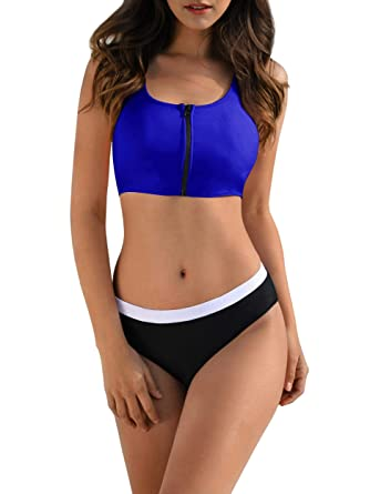 1d45f33bc6222 Amazon.com: Womens Two Pieces Bikini Sets Zipper Front Tank Crop Tops Sexy  Sporty Color Block Swimsuit: Clothing