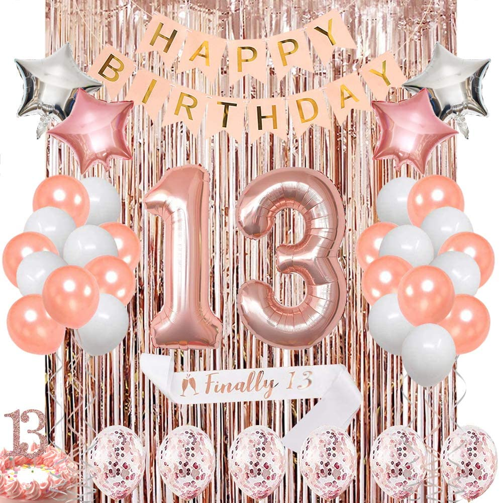Rose Gold 13th Birthday Decorations for Her,13 Birthday Decorations for Girls Balloons Party Supplies Kit – Sweet 13 Rose Gold Décor Rose Gold Confetti Balloons for her, Sweet 13 Balloons, Sweet 13 Cake Toppers, Happy Birthday Banner, Birthday Sash