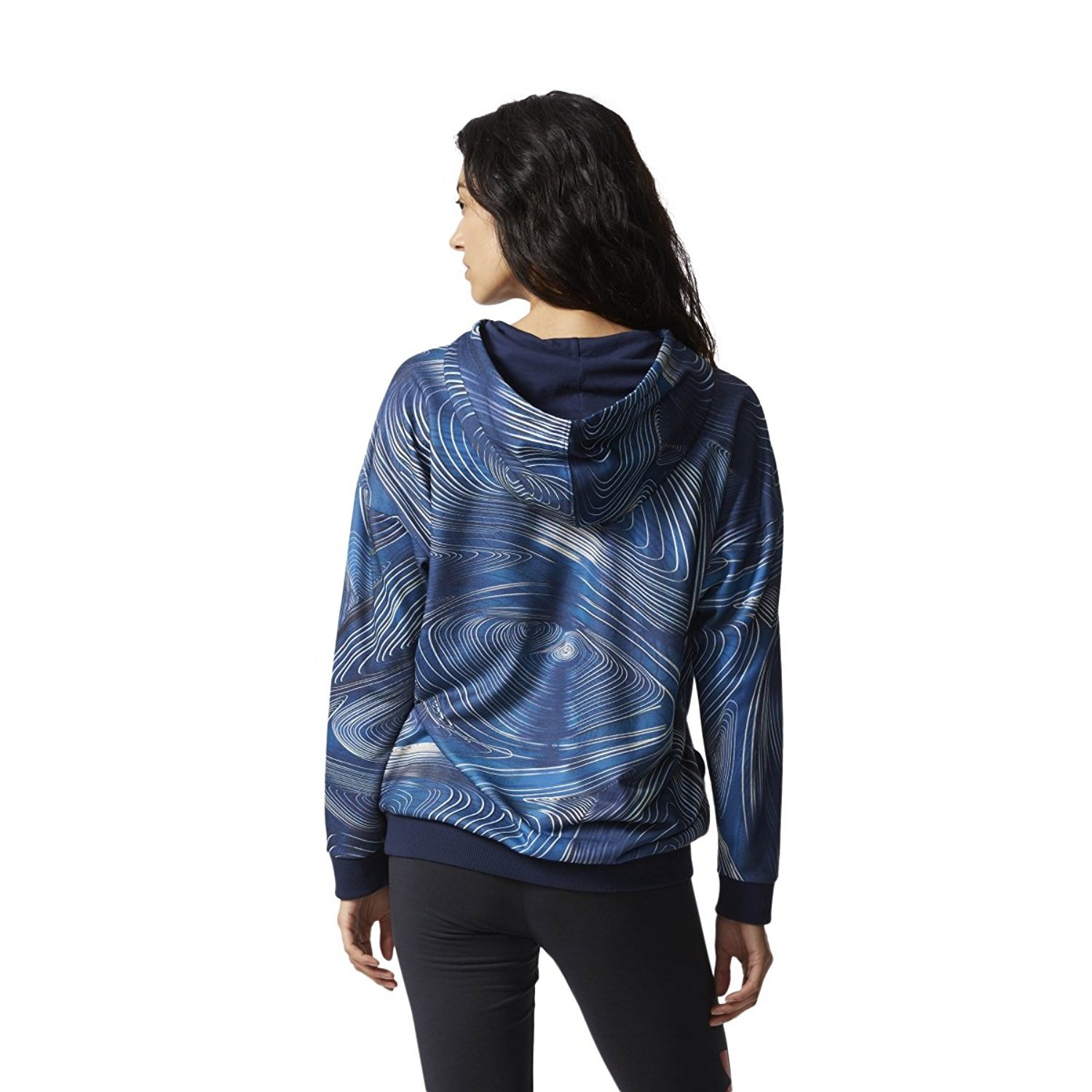 bd5c6b27809203 Amazon.com: adidas Women Originals Blue Geology Oversize Hoodie #BQ1010  (XS): Sports & Outdoors