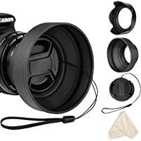 Veatree 58mm Lens Hood Set, Collapsible Rubber Lens Hood with Filter Thread + Reversible Tulip Flower Lens Hood + Center Pinch Lens Cap + Microfiber Lens Cleaning Cloth