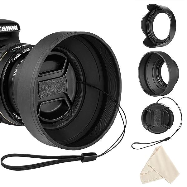 Veatree 52mm Lens Hood Set, Collapsible Rubber Lens Hood with Filter Thread  Reversible Tulip Flower Lens Hood  Center Pinch Lens Cap  Microfiber L