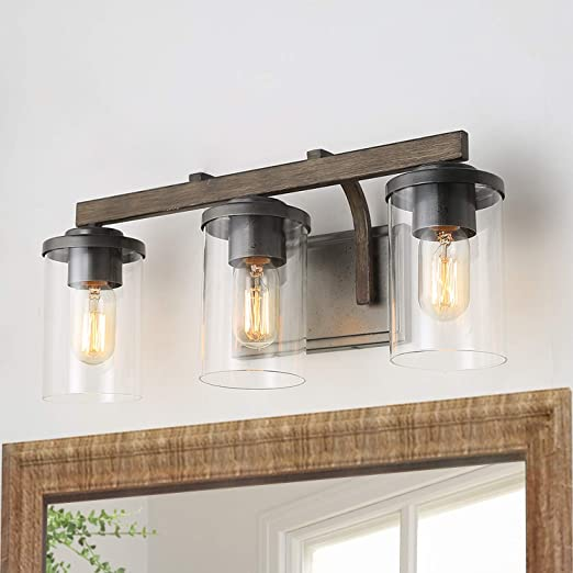 """Bathroom Light Fixtures, Farmhouse Vanity Light with Clear Glass Shades, 3 Lights Wooden Wall Sconce for Bathroom, Laundry Room, Hallway, 20"""" in Length"""