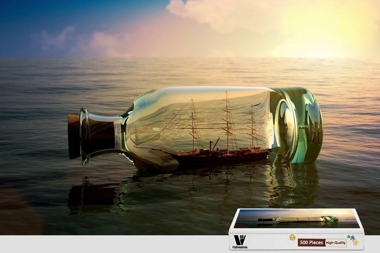 競売 pigbangbang、20.6 X X 15.1インチ Ship、プレミアム木製Unique Present toファミリNice壁画ポスター – Ship B07FLHL8CF VesselボトルMood – 300ピースジグソーパズル B07FLHL8CF, 中巨摩郡:2a229656 --- 4x4.lt