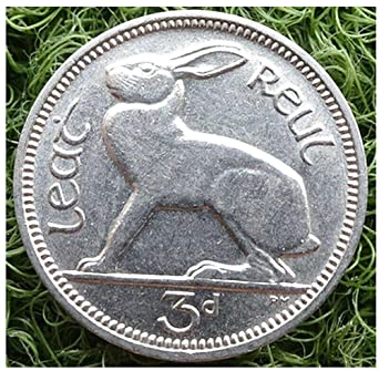 Authentic Irish Sixpence Minted 1950 SCARCE ISSUE Wolf Hound Dog Harp Ireland