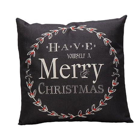 ikevan Navidad mezcla de lino funda de almohada sofá cintura ...
