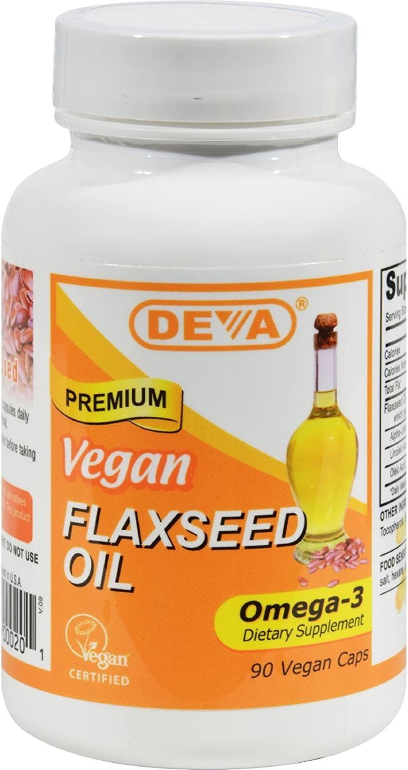 DEVA VEGAN FLAX SEED OIL,500MG,VEGAN, 90 VCAP, 3 pack