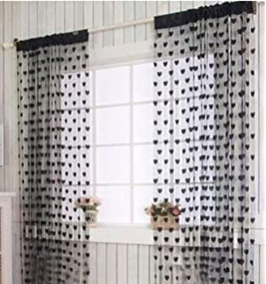 Cue Lace Window Curtain Door Panel Bathroom Shower For Indoor Outdoor Decoration Black
