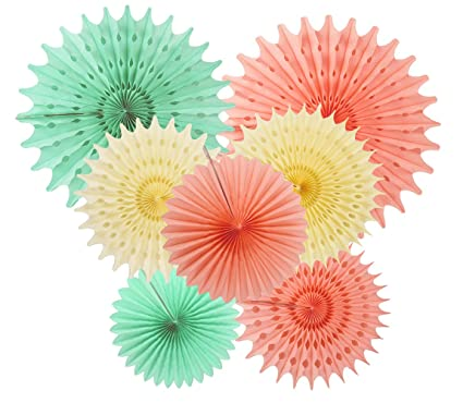 Amazoncom Furuix Paper Honeycomb Tissue Paper Fan Cream Mint Green