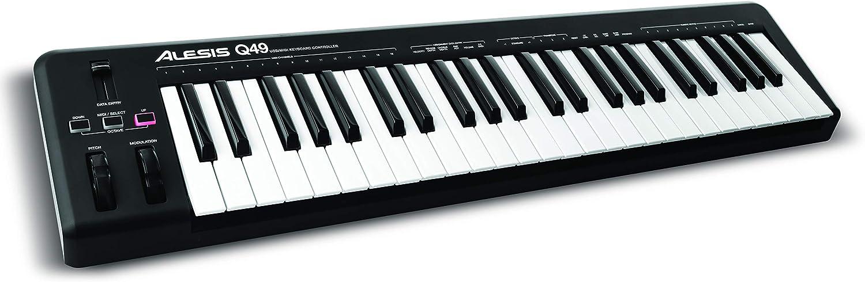 Alesis Q49 - Teclado controlador MIDI USB con 49 teclas sensibles a la velocidad, salida MIDI, ruedas de pitch y modulación y software Ableton Live Lite incluido