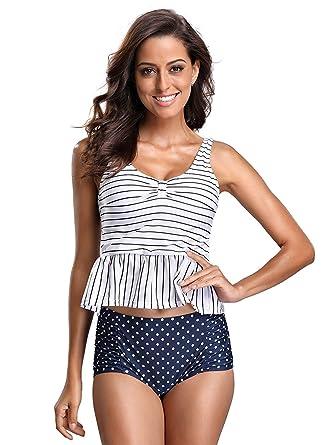 ae20a0ed68 Amazon.com  FanShou Women Retro Stripe Peplum Tankini Top Padding Bra Two  Piece High Waist Swimsuit Bathing Suits  Clothing