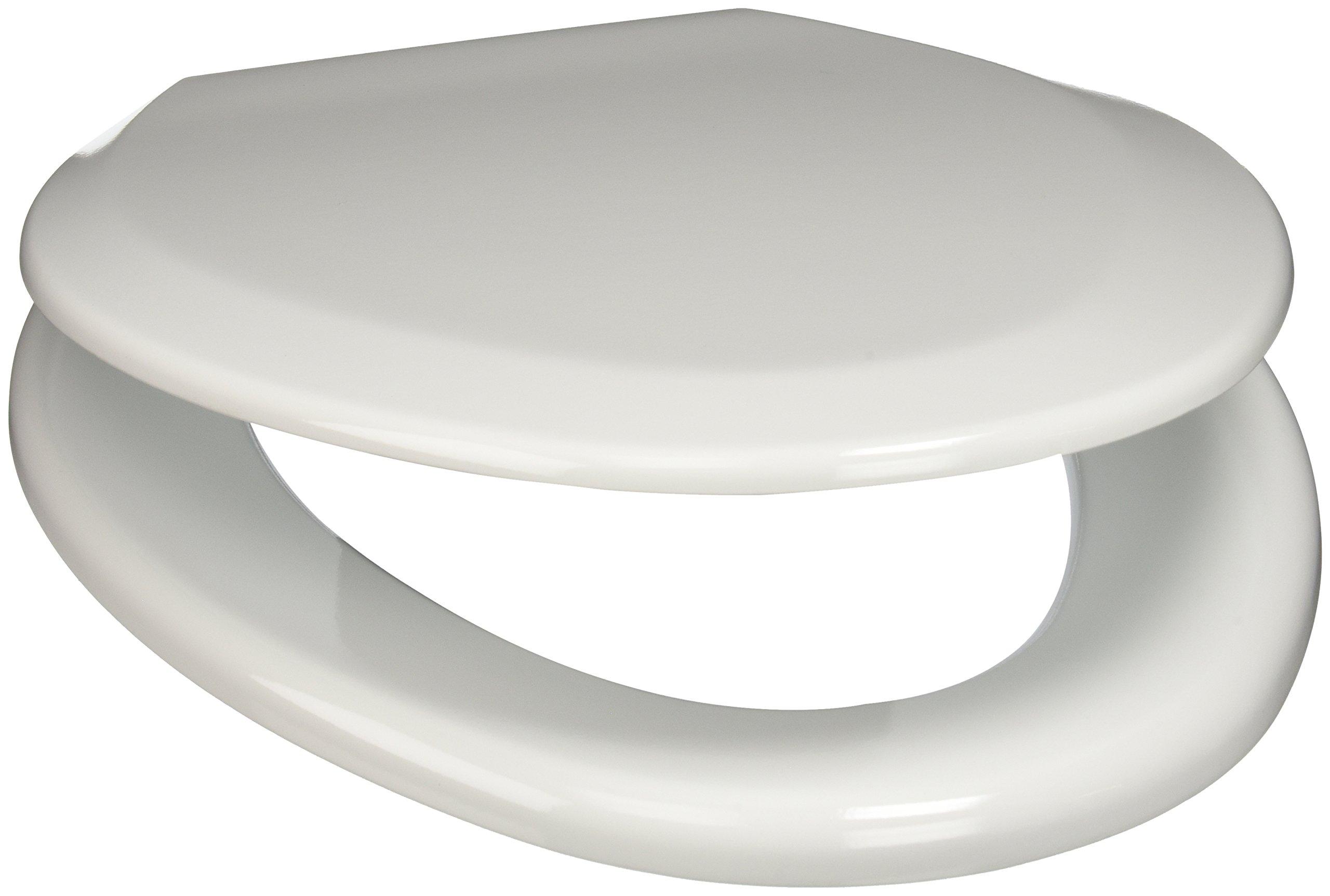 PlumbTech 124-04 Premium Molded Wood Elongated Toilet Seat with Adjustable Hinge, Cotton White