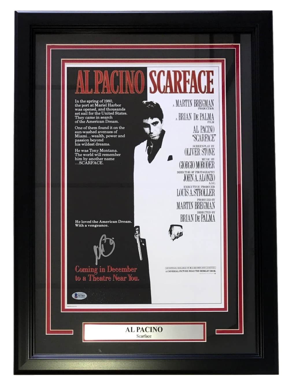 Al pacino signed framed scarface tony montana 17x24 movie poster al pacino signed framed scarface tony montana 17x24 movie poster beckett bas at amazons sports collectibles store jeuxipadfo Images