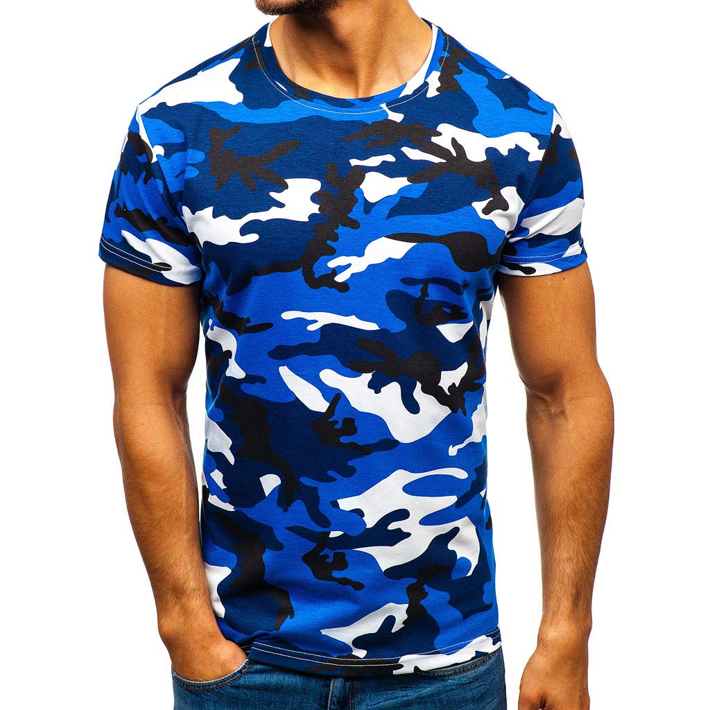 STORTO Mens Camouflage Casual Polo Shirts Lapel Short Sleeve Fashion Workout Fit Soft Tops