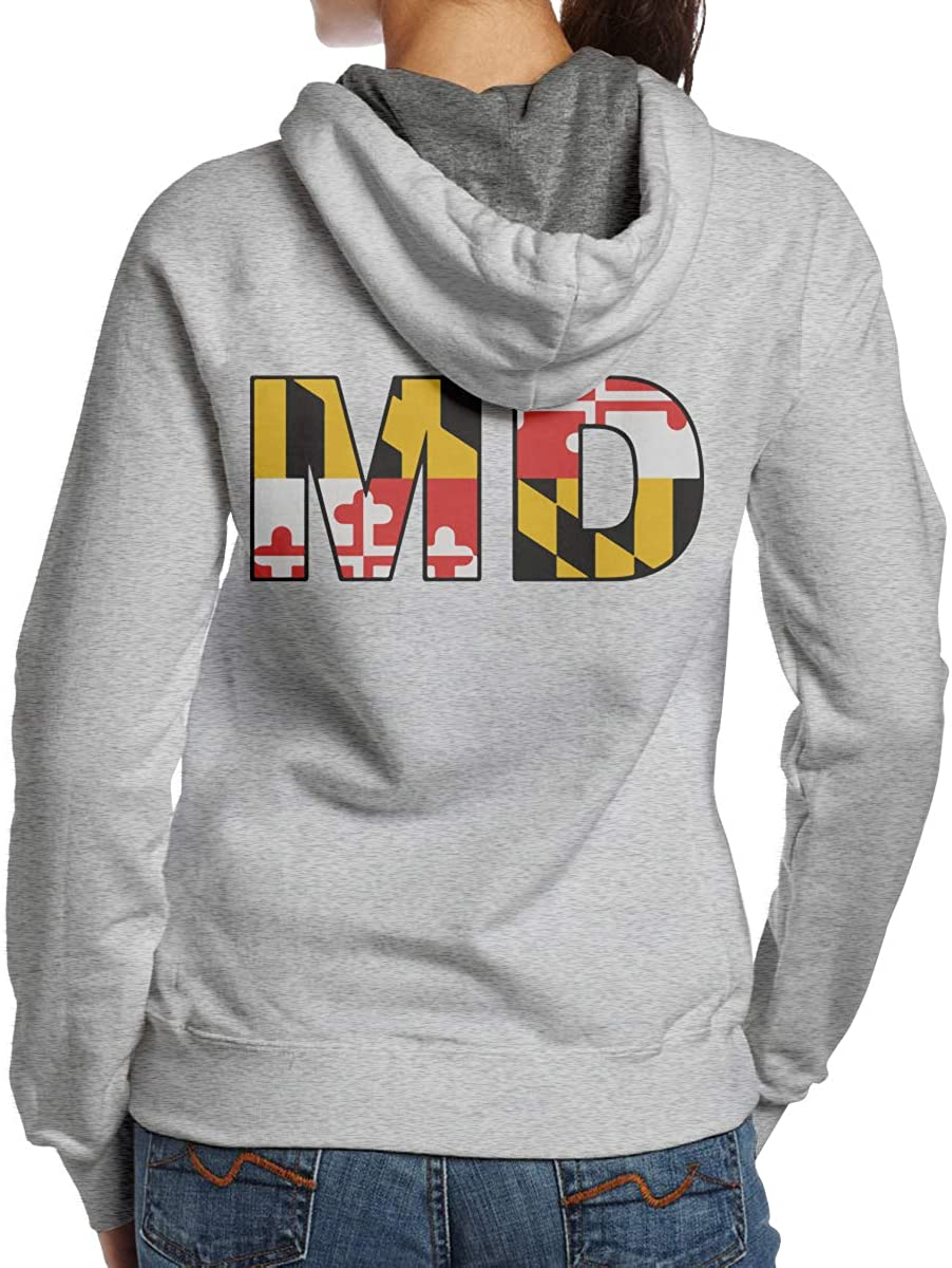 BB/&YYY MD State Flag Womens Pullover Hoodie Sweatshirt Back Print Hoodies