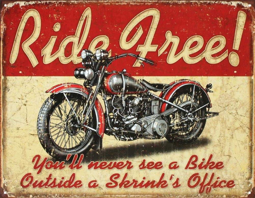 Tromic Gifts Ride Free Motorcycle Tin Sign 13 x 16in by desperate AP8925391_PC0_FI0_SV0_IN1