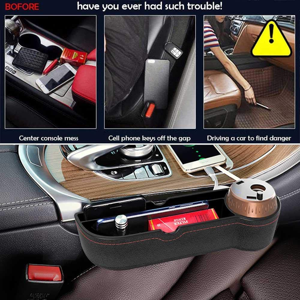 Multi-Functional Car Gap Organizer,Car Seat Storage Organize with 2 USB Chargers and for Cellphones,Keys,Cards,Wallets Brown E-CHENG Car Seat Gap Filler