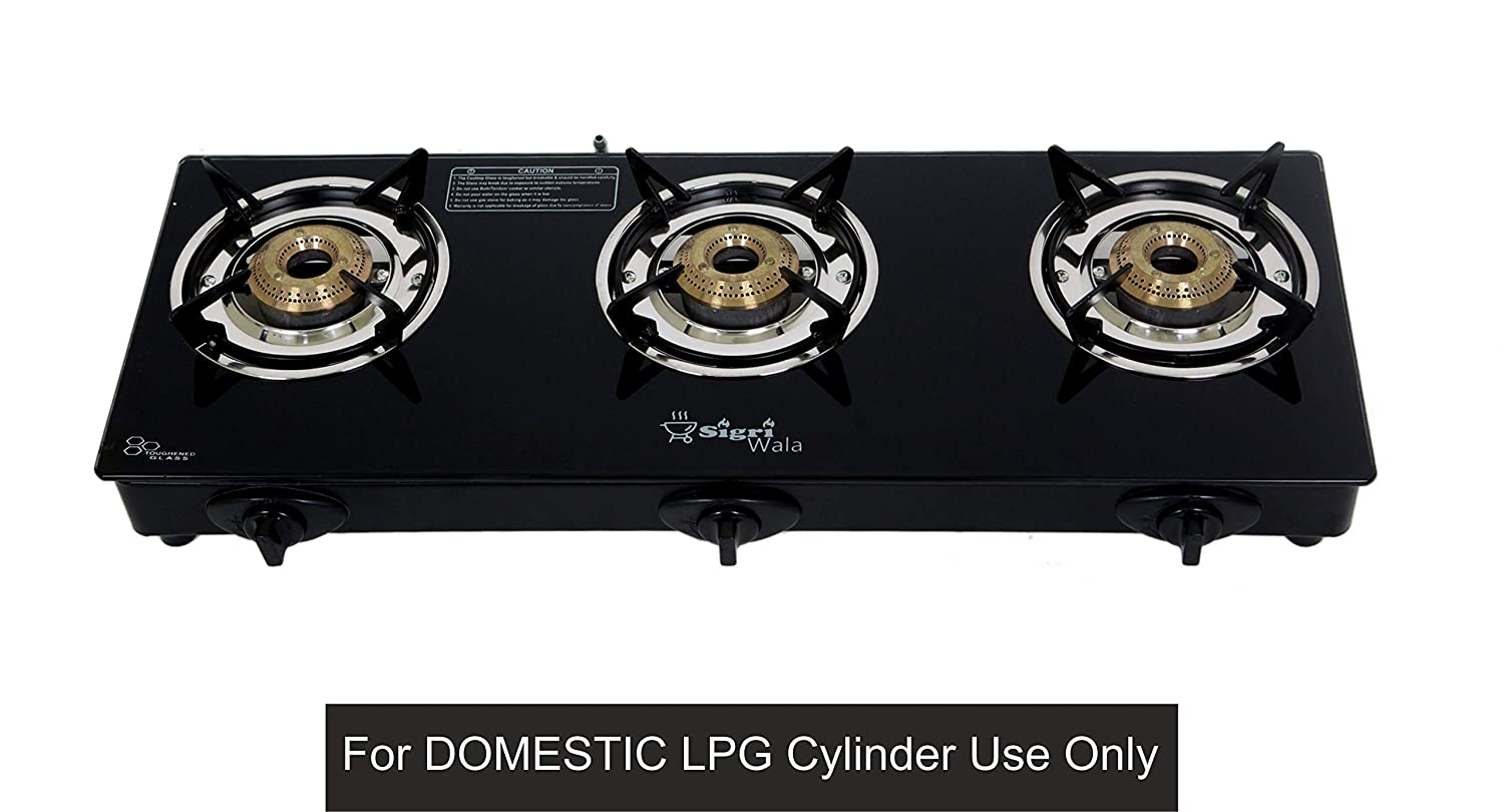 09e4689539c Buy SIGRI-WALA AUTO Ignition 3 Burner Gas Stove (Auto Ignition 3 Burner)  for Domestic LPG Only Online at Low Prices in India - Amazon.in