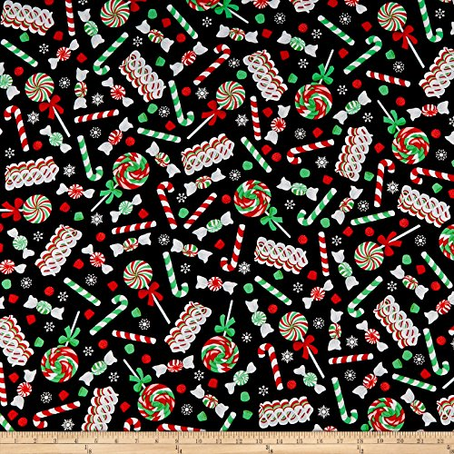 Santee Print Works Cheer Christmas Candy Multi Fabric by The Yard