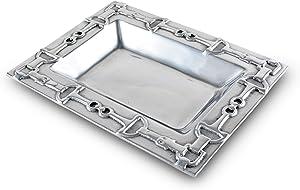 Arthur Court Designs Aluminum Equestrian Food Service Tray, Desktop Storage Organizer, Catchall, Valet, Nightstand or Dresser 10 Inch
