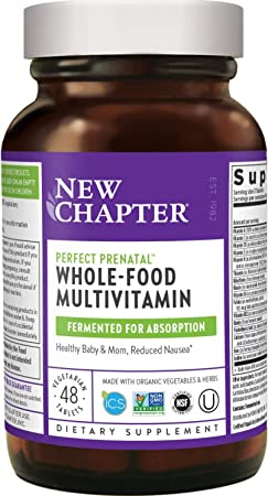 New Chapter Perfect Prenatal Vitamins - 48ct, Organic Prenatal Vitamins, Non-GMO Ingredients for Healthy Baby & Mom - Folate (Methylfolate), Iron, Vitamin D3, Fermented with Whole Foods and Probiotics