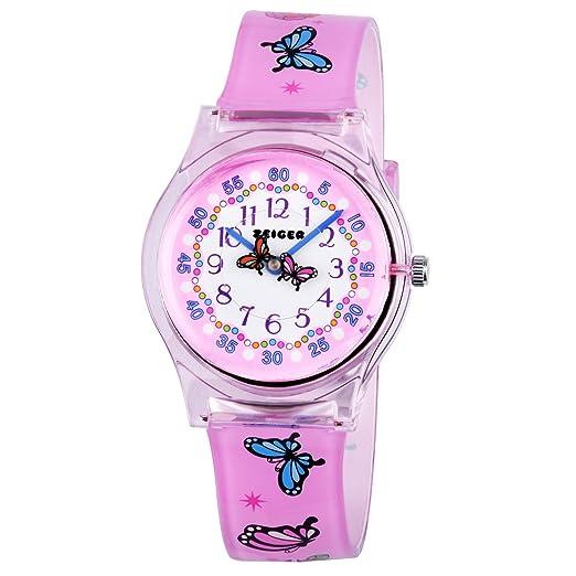 Reloj Deportivo Relojes de Pulsera de Cuarzo analogico para ninos Impermeable KW098 Mariposa Rosa Reloj Nina Chica Infantil: Amazon.es: Relojes