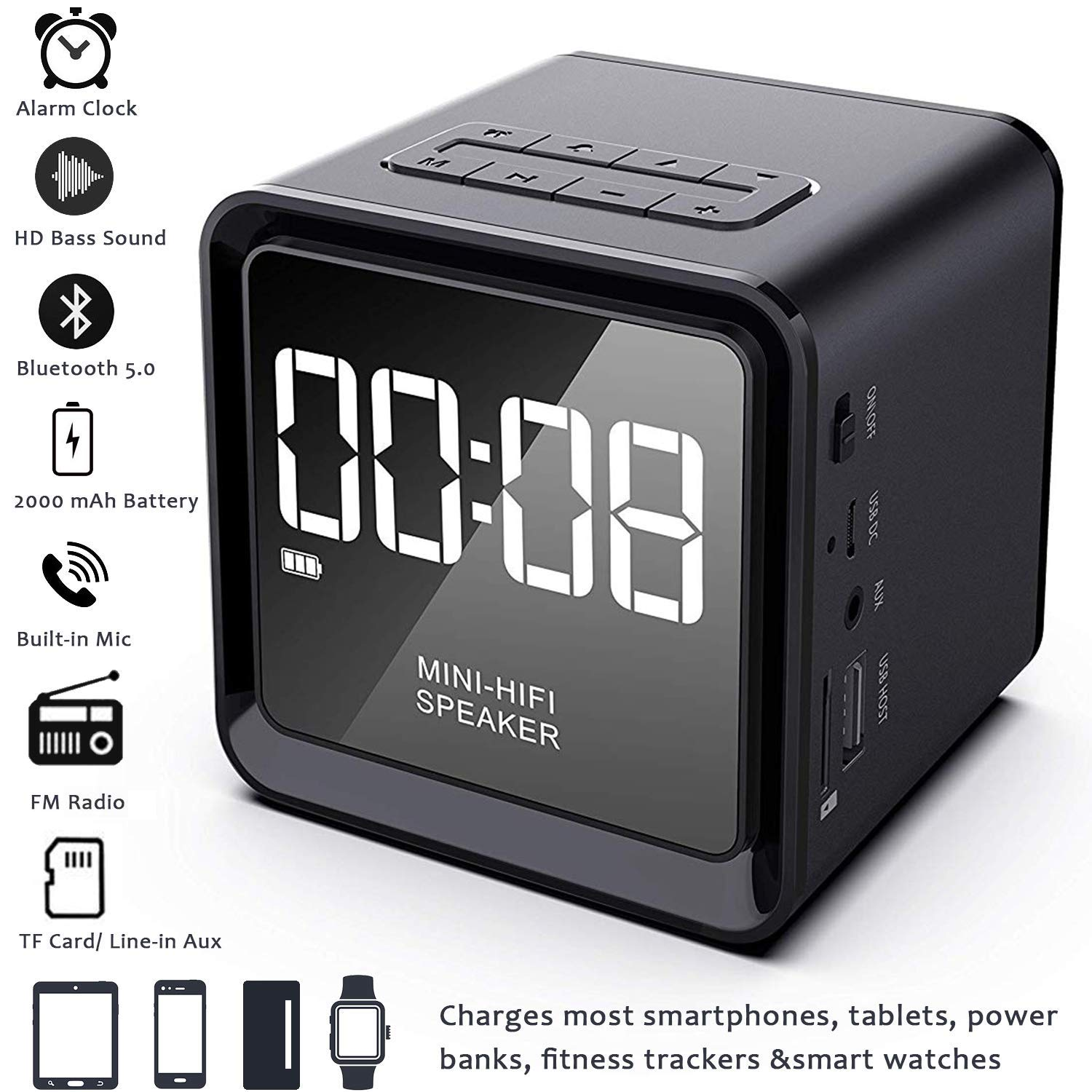 2019 UPGRADE Digital Alarm Clock Radio with Wireless Bluetooth Speaker for Bedrooms/Office, Micro SD, Built-in Mic, 33ft Range, 4-8 Hrs/2000 mA ...