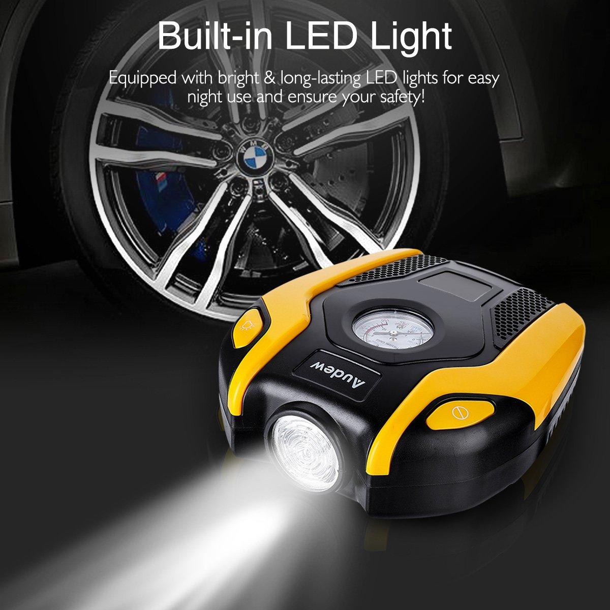 Luftmatratze und andere Inflatables Fahrrad Audew Luftkompressor Tragbare Luftpumpe Reifen Inflator Auto Reifenpumpe mit LED-Lampe und Manometer f/ür Auto