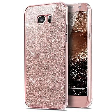 Kompatibel mit Galaxy S7 Hülle,Galaxy S7 Schutzhülle,Full-Body 360 Grad Bling Glänzend Glitzer Klar Durchsichtige TPU Silikon