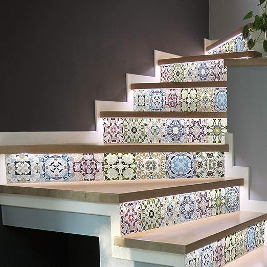 Pegatinas para escaleras, baldosas adhesivas, baldosas de cemento, pegatinas para contramarca, baldosas de cemento, escaleras, baldosas de cemento adhesivas, azulejos – 15 x 105 cm – 6 tiras: Amazon.es: Hogar