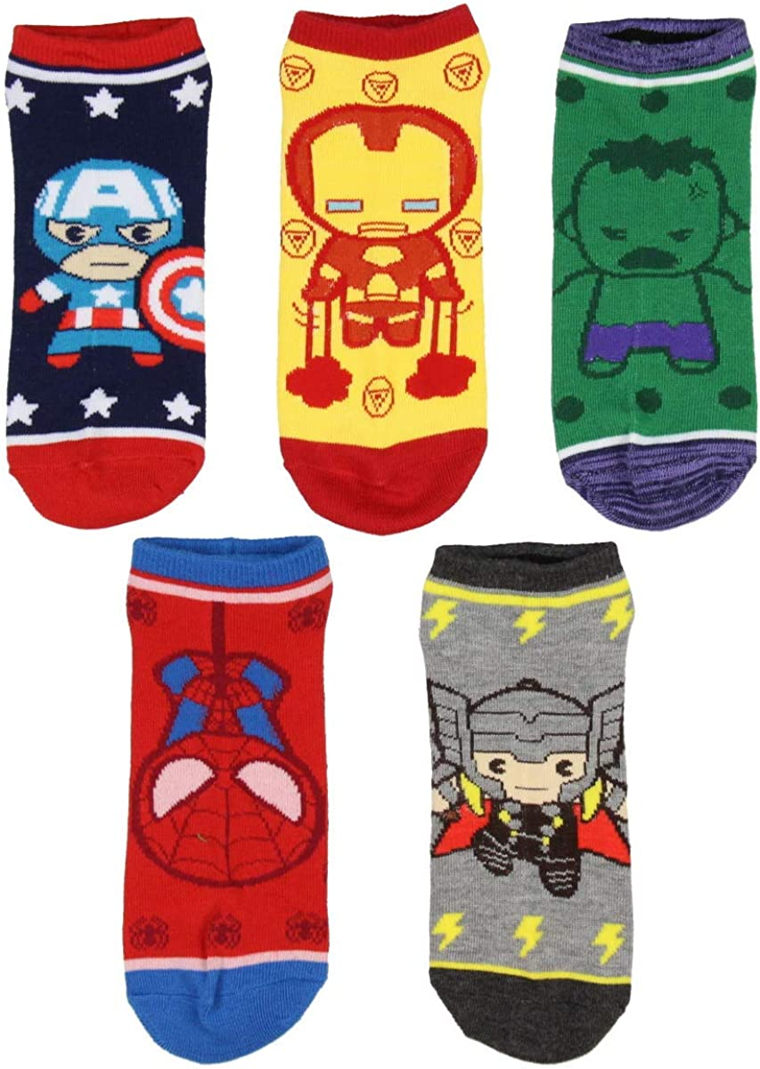 Marvel Avengers Kawaii Spiderman Hulk Ironman Captain America 5 Pair Socks Women