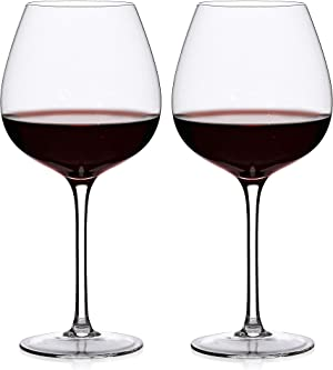 LUXU Wine Glasses set of 2,Lead-free Crystal Wine Glasses(23oz),Premium Wine glasses For Pinot Noir/Burgundy/Chardonnay,Old World Classics Design(Pinot Noir)