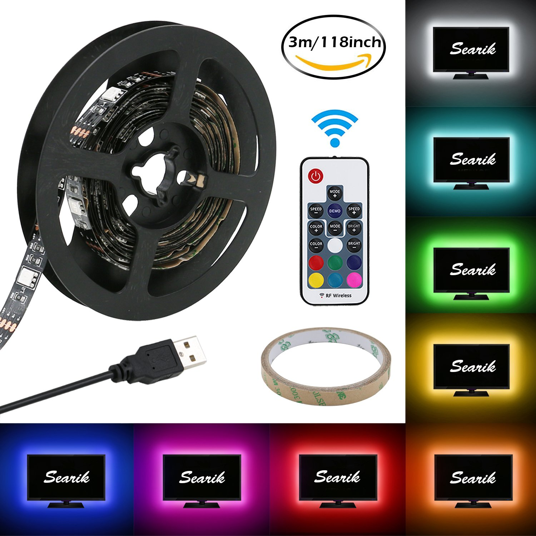 Bias Lighting (118 inch / 3m), Searik RGB LED Light Strip Kit TV Backlight 5V USB Strips Flexible Waterproof LED Lamp with 17 Keys RF Remote Controller for Flat Screen TV Background, HDTV, PC Monitor