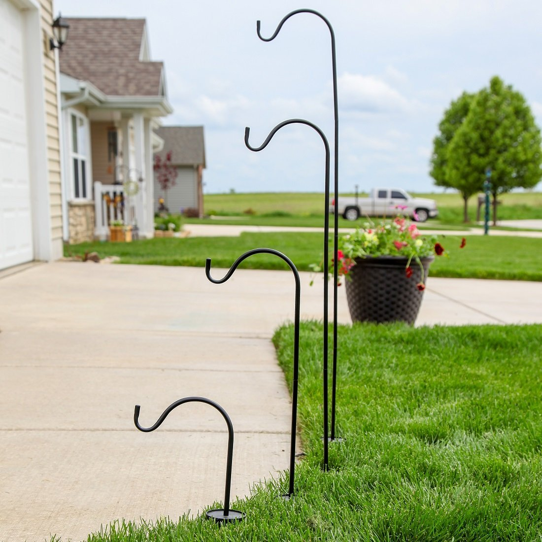 Details about 4 Pack In-Ground Shepherds Hook Adjustable Height Assembly  Steel Pole Set Black
