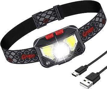 Gritin Linterna Frontal LED Recargable, Linterna Frontal ...