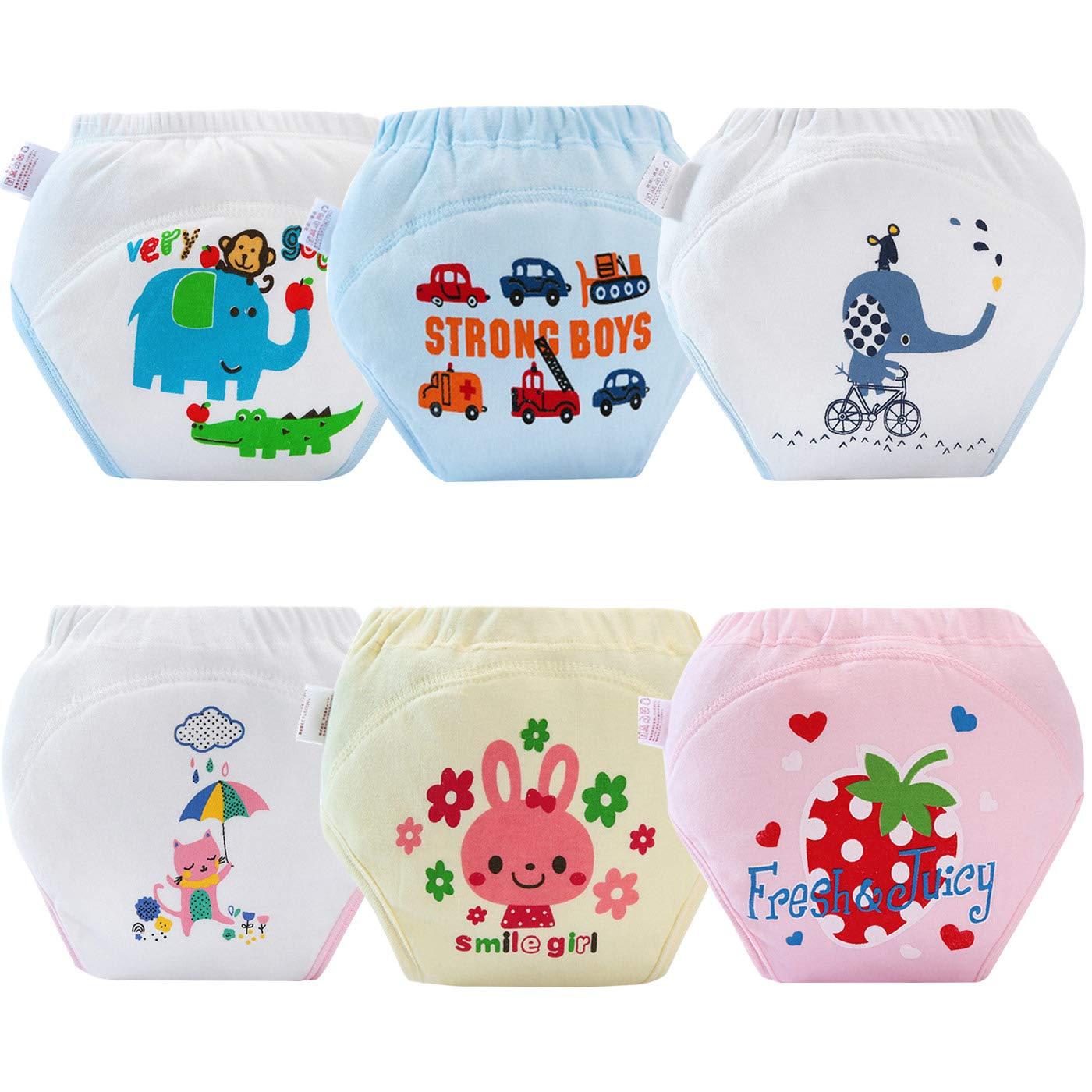 AUBIG Unisex Baby Training Underwear 4 Layers Cotton Diaper Pants Pack of 6 H101FMW0004-05