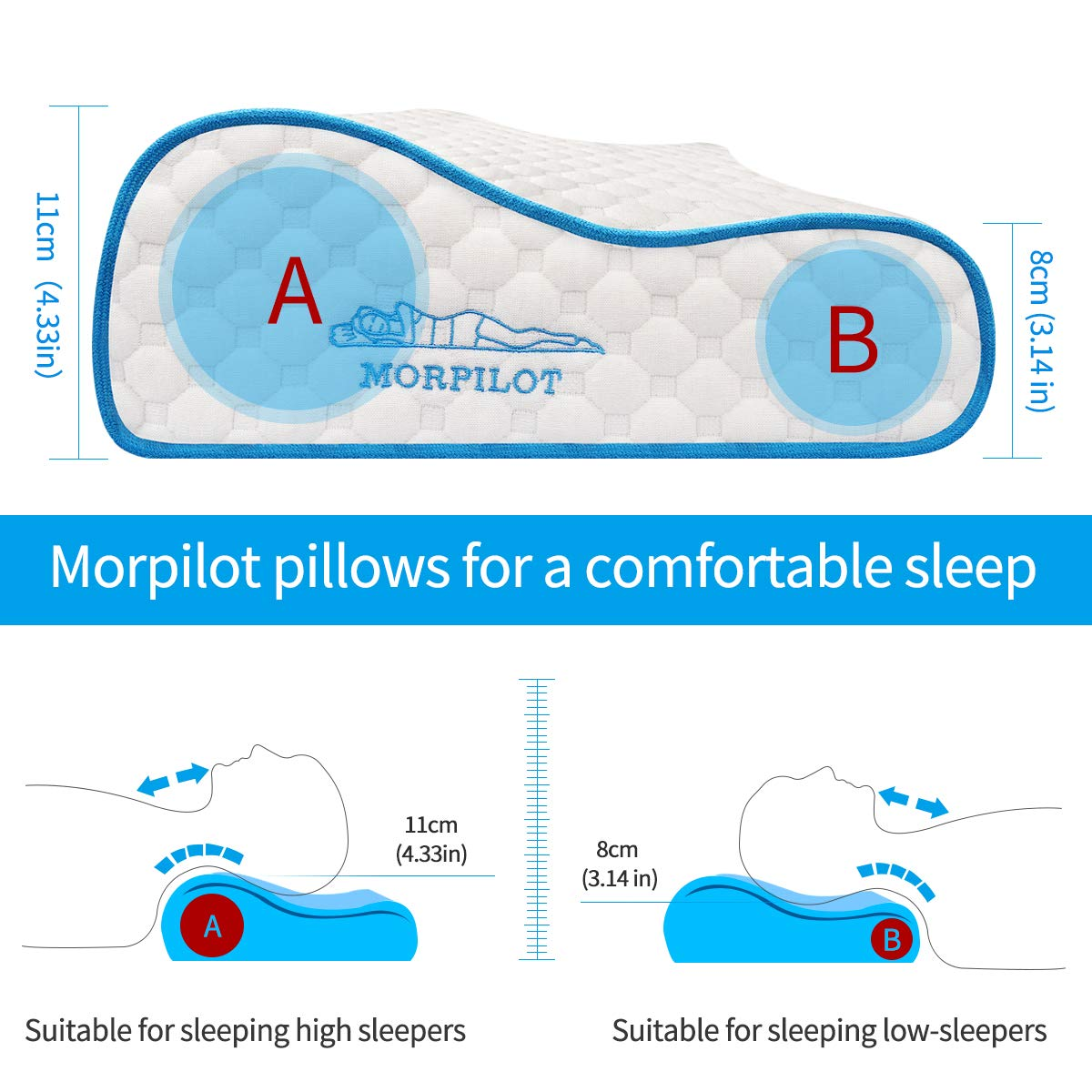 morpilot Contour Memory Foam Anti-Snore Pillow Silent Night for Side Back Sleepers to Relief Neck and Shoulder Pain,Soft Standard Size Spine Alignment Pillow with Zipped Cotton Pillow Case Protector