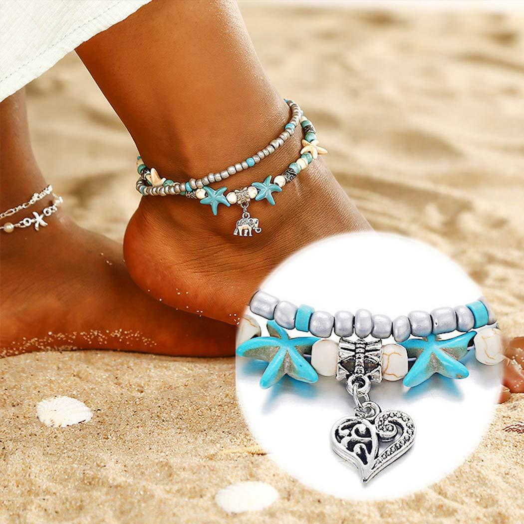 Olbye Silver Heart Anklet Bracelet Charm Double Heart Sandals Foot Chain Bracelet Bridal Summer Jewelry for Women and Teen Girls