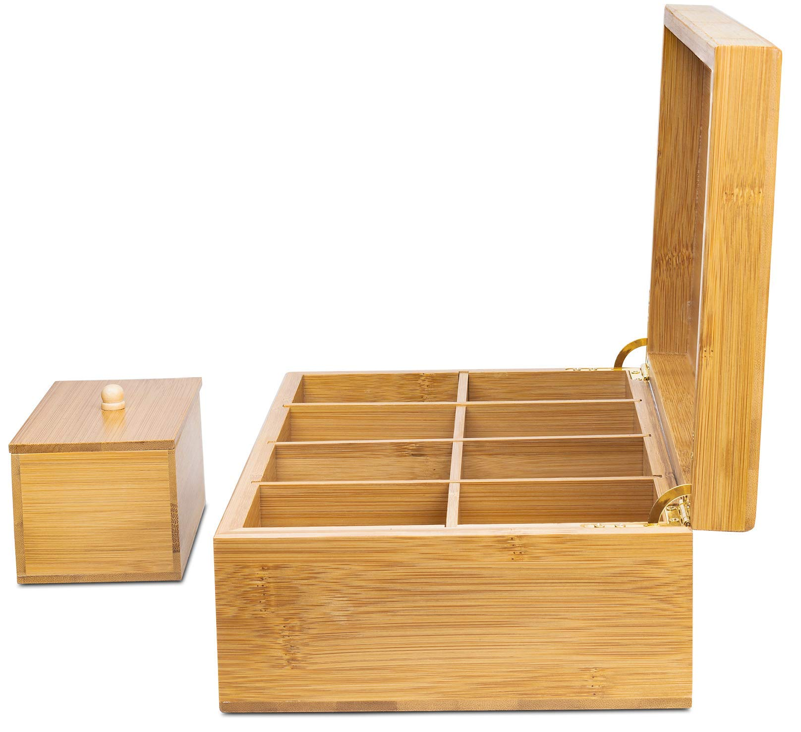 Lyevon Tea Storage Organizer Bamboo Chest Box with 8 Adjustable Compartments for Assorted Tea Bags or Spices -holds 125 Tea Bags by Lyevon (Image #6)
