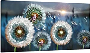 Large Wall Art Dandelion Theme Canvas Art Wall Decor for Living Room Abstract White Dandelion Sun Blue Landscape Prints Artwork Modern Framed Wall Art for Bedroom Office Home Decorations Size 24x48