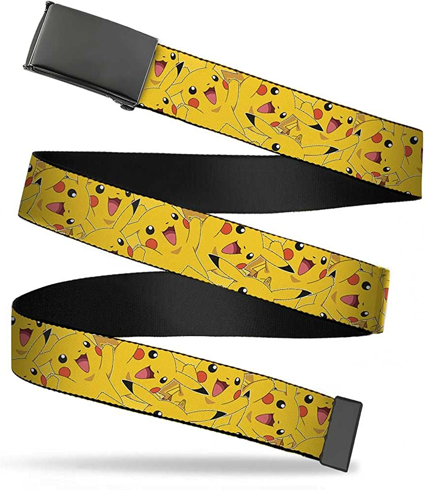1.25 Wide-fits up to 42 Pant Size Pikachu Stacked Buckle-Down Mens Web Belt Pokemon