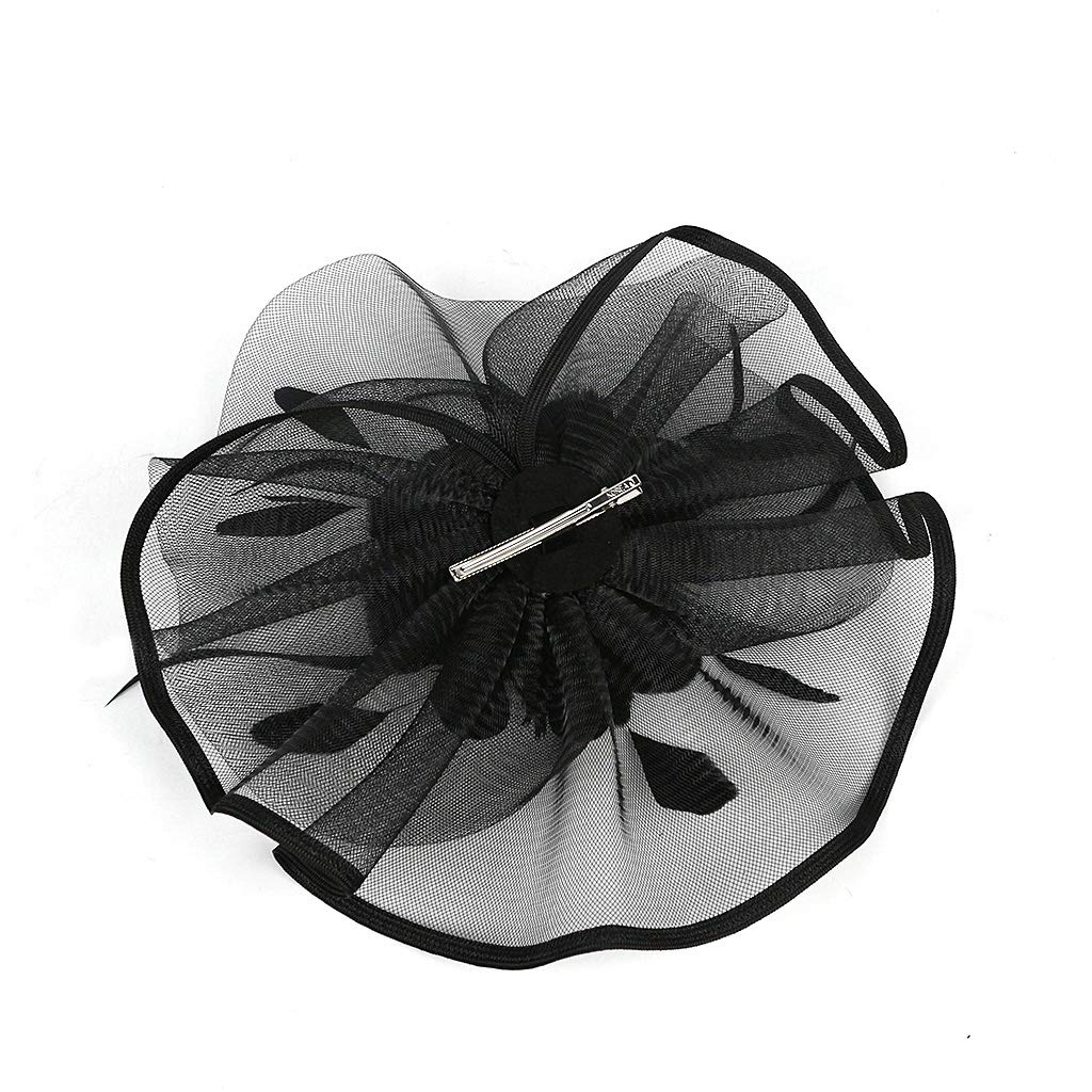 Kentucky Derby Fascinators for Women Sinamay Tea Party Hat Cocktail Headpiece Flower Mesh Feathers Headband Hat Black-AD by Merya Dress (Image #8)