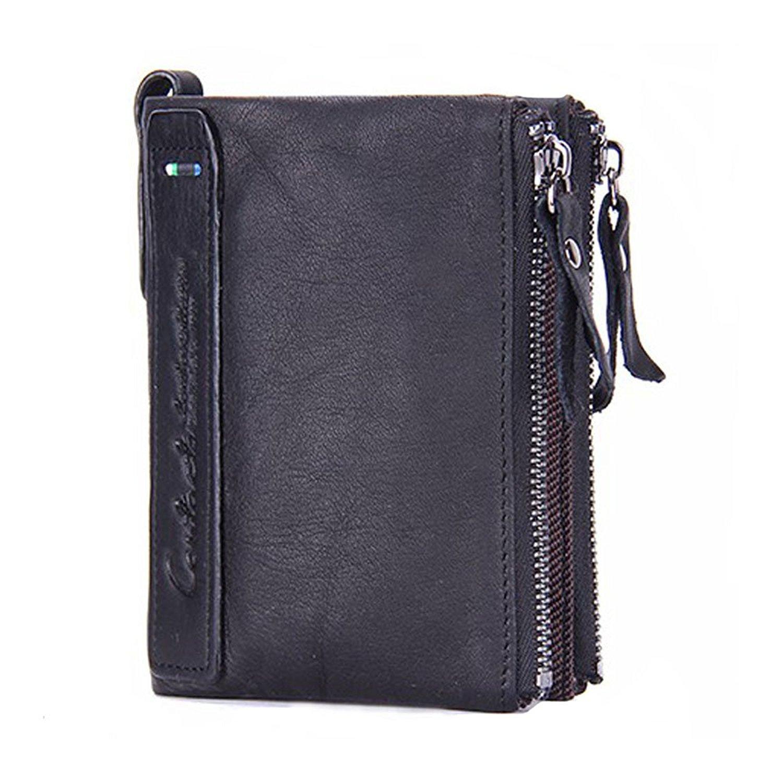 Modesty para hombre auténtica piel bifold Monedero doble cremallera bolsillo tipo cartera