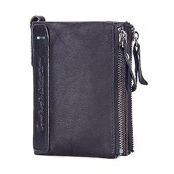 Modesty para hombre auténtica piel bifold Monedero doble cremallera bolsillo tipo cartera(Negro)- hd001: Amazon.es: Equipaje