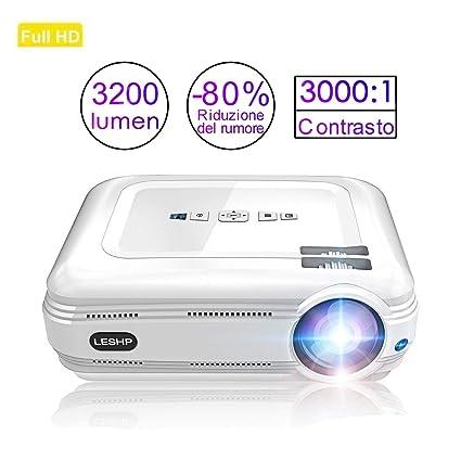Proyector de Vídeo, LESHP LED Proyector Portátil Full HD 1080p proyector para Home Cinema (Altavoz Incorporado, con USB/ HDMI/ VGA/ AV, para PC ...