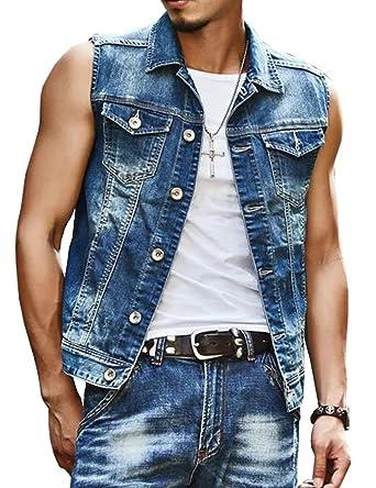 Mens Denim Vest Washed Old Jacket Sleeveless At Amazon Men S