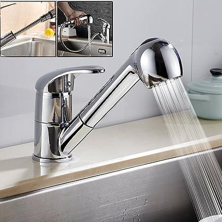 Chrome Kitchen Basin Sink Tap Mono Bloc Single Lever Long Swivel Neck Mixer Taps