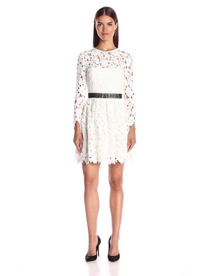 330c1fa771 Amazon.com  Cynthia Rowley Women s Lace Long Sleeve Fit and Flare Dress   Clothing