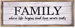"""MACVAD Rustic Solid Wood Framed Family Sign for Home Decor,Large Hanging Wall Decor Sign with Inspirational Quotes - Family Where Life Begins and Love Never Ends,Gift for Family,27.5"""" x 9.5"""""""