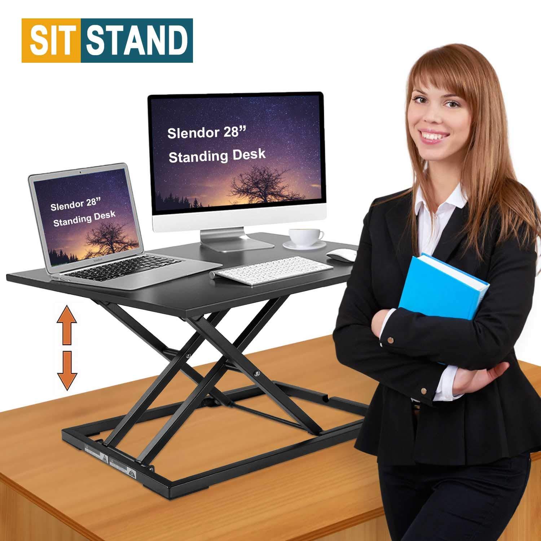 Standing Desk Stand Up Desks Height Adjustable 28 inch Sit Stand Converter Dual Monitor Ergonomic Air Riser Laptop Stands Large Rising Desktop Computer Table Workstation Foldable Extender Home Office by slendor