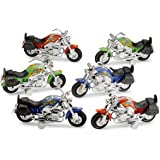 Large Pull Back Friction Motorcycles - 6 Piece 7 Inch Racer Vehicle - For Kids In Assorted Colors - Great Party Favor, Prize, Gift – By Kidsco